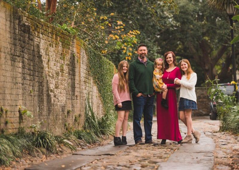 Family Photos on Rainbow Row in Downtown Charleston