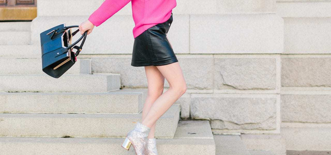 Leather Mini & Pops of Pink