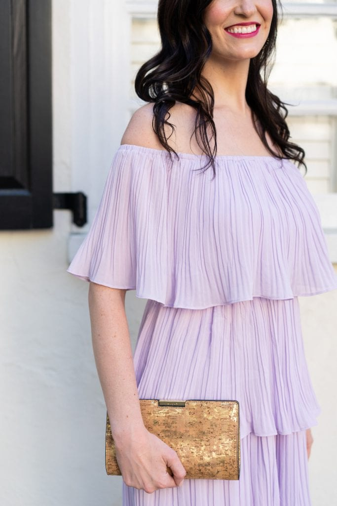 Life WIth Ashley T wearing a lavender ruffle dress