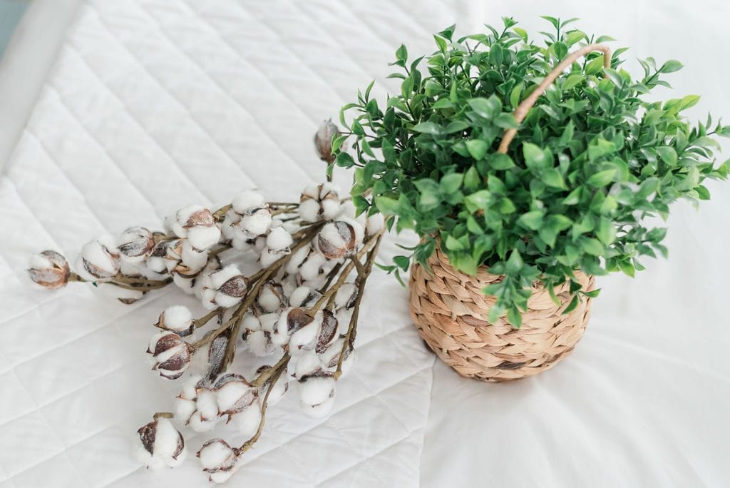 White cotton quilt from Red Land Cotton with cotton springs and basket of greenery