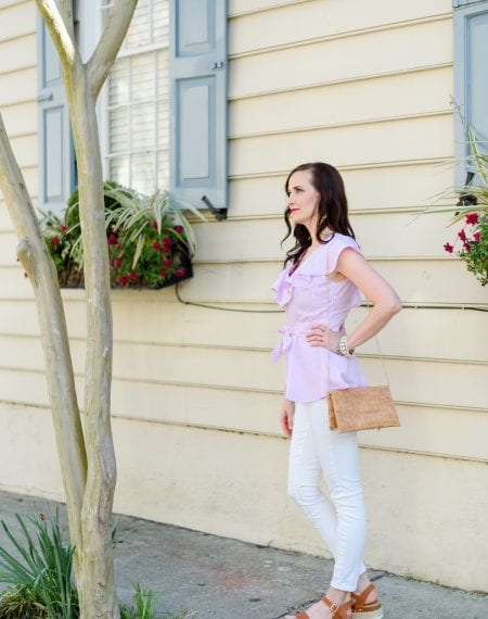 Life With Ashley T walking around in downtown Charleston | Spring fashion