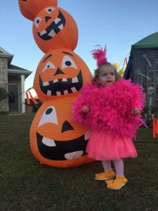 toddler in a pink flamingo Halloween costume in front of blow up pumpkins