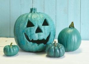 Teal halloween pumpkins