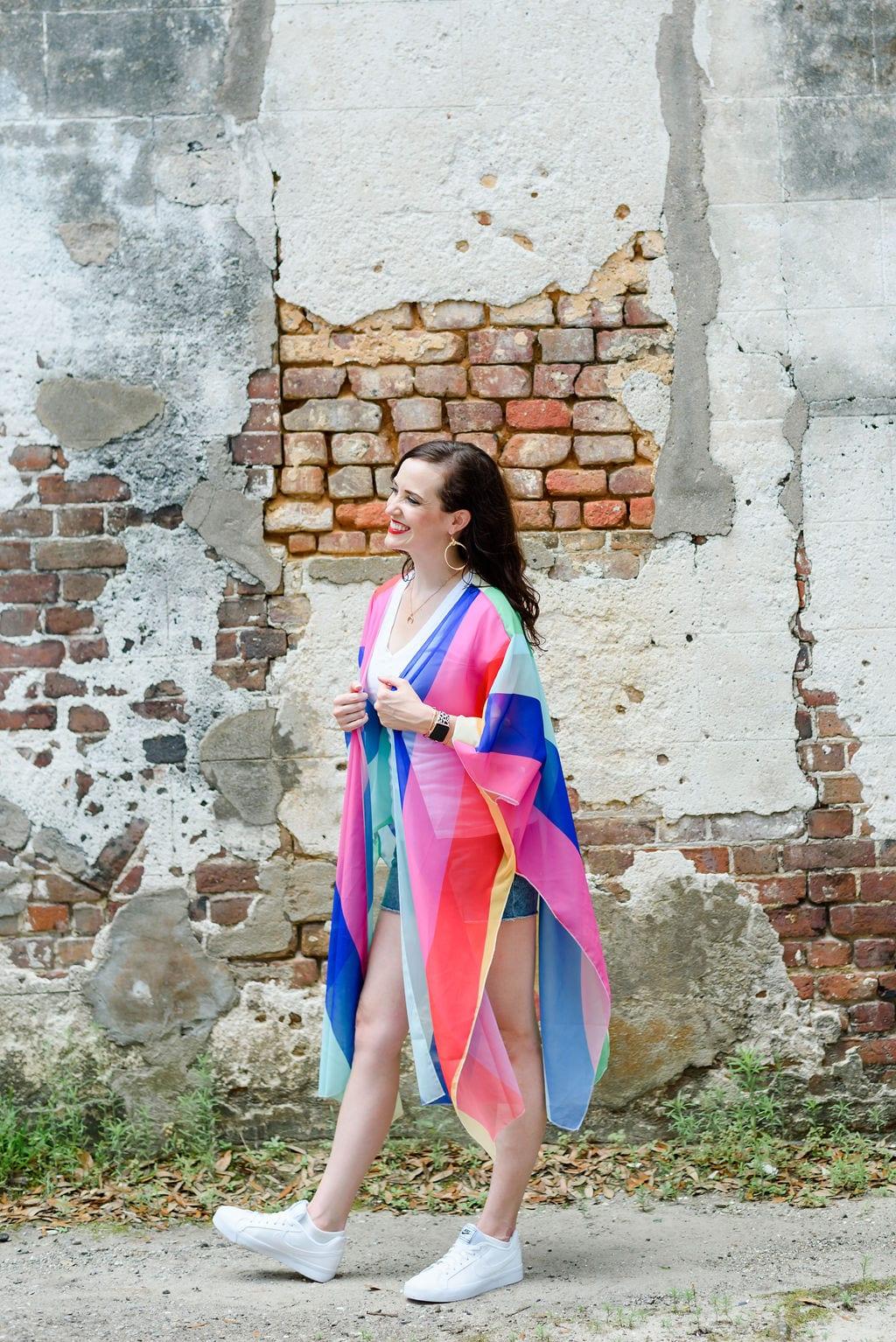 Ashley T wearing a rainbow kimono