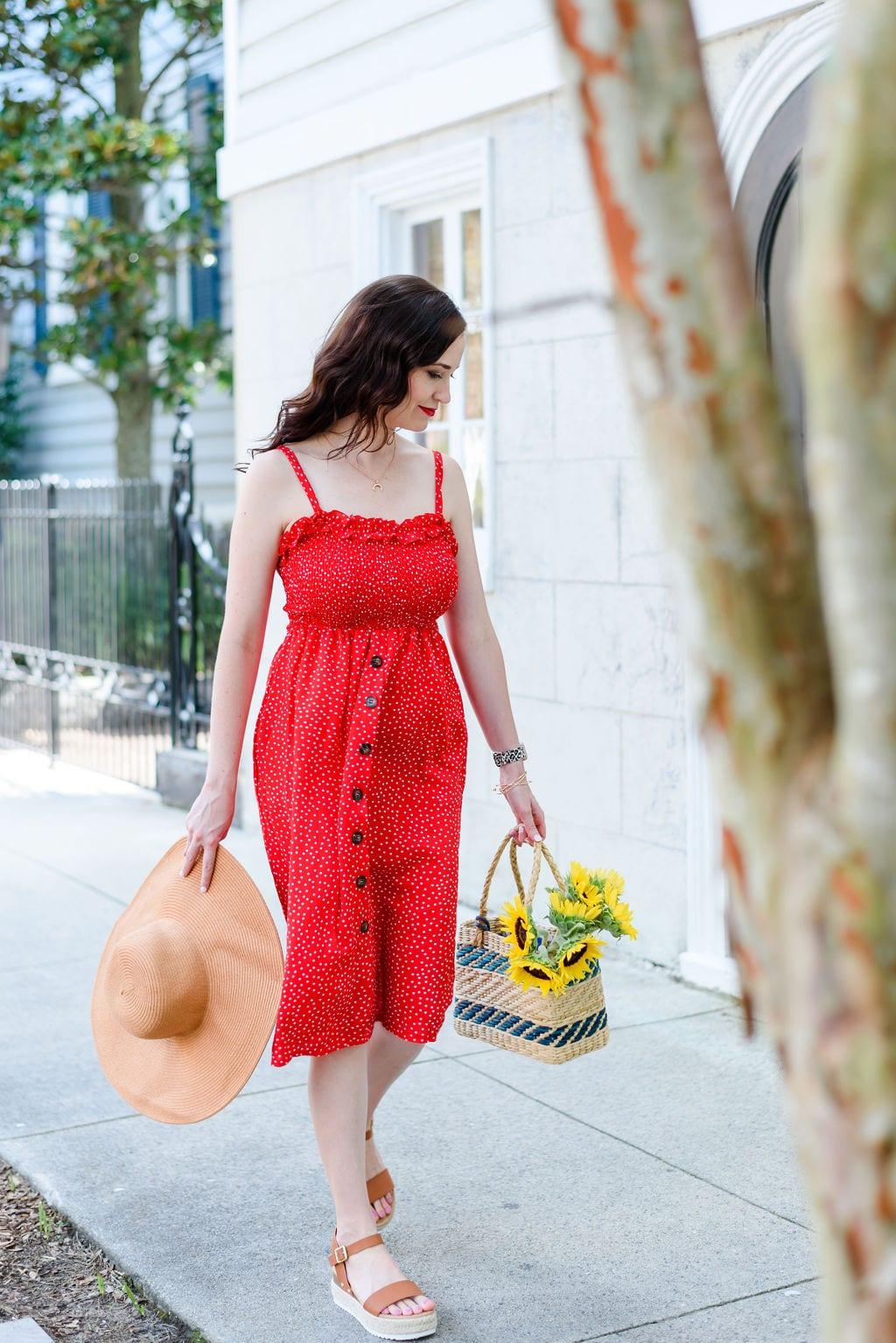 Ashley Thiesen walking downtown Charleston