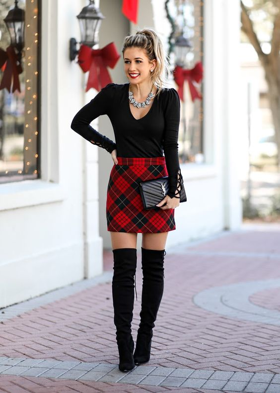 plaid-skirt-black-bodysuit-classic-holiday-look